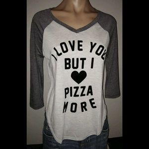 FIFTH SUN LOVE YOU BUT PIZZA MORE RAGLAN GRAPHIC T
